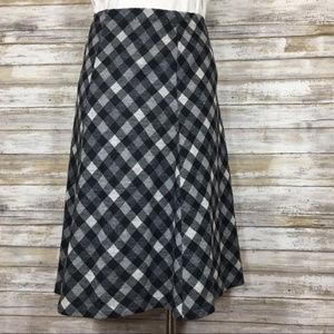 Vintage black & gray plaid a-line skirt